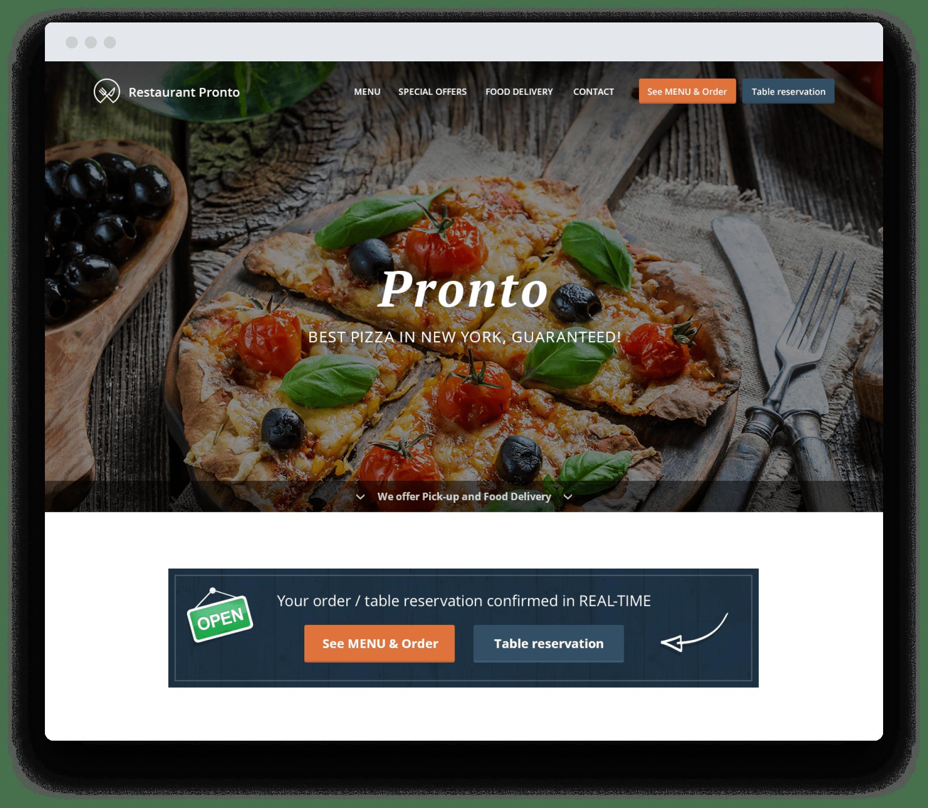 Restaurant Landing Pages Button