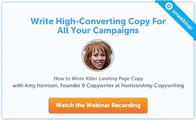 Copywriting webinar CTA