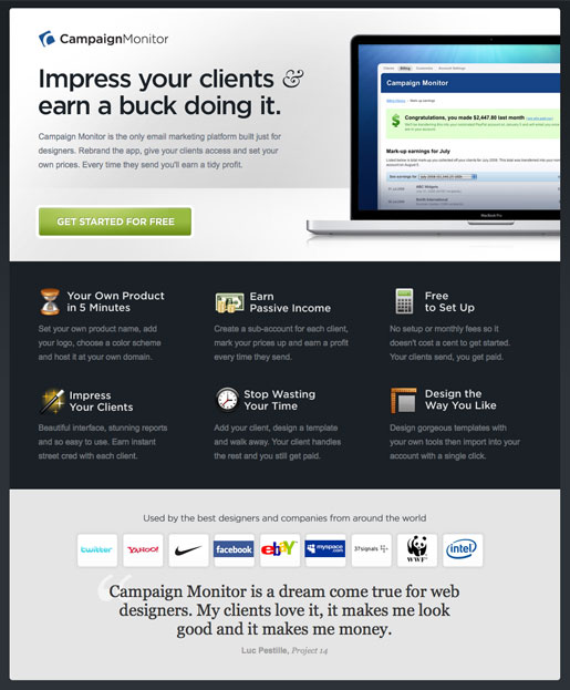 Screenshot of the designers landing page from campaign monitor