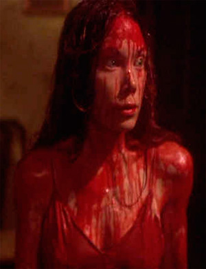 Carrie covered in blood