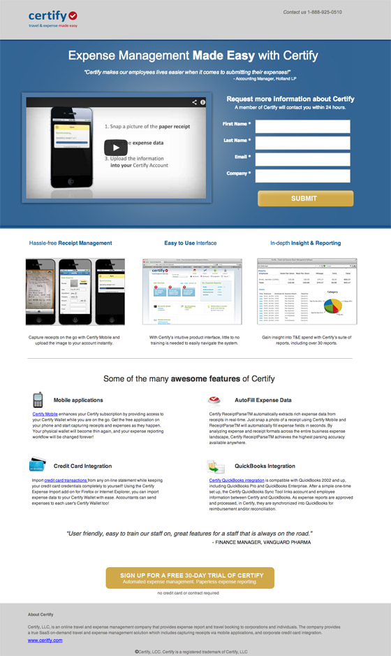 certify landing page example