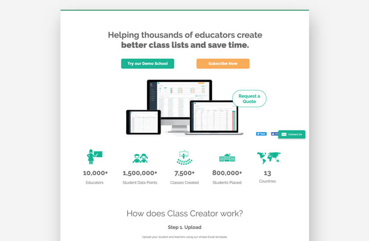 Most Inspiring Landing Page Examples: Class Creator