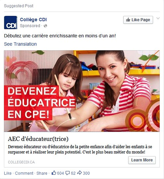 Native Advertising: College CDI example