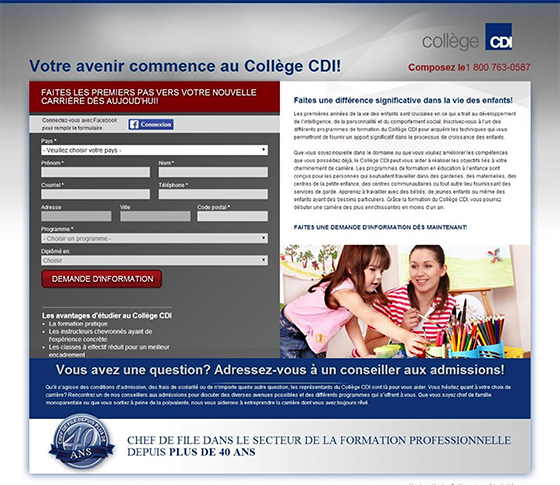 Native Advertising: College CDI landing page