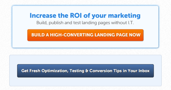 Content Marketing; Unbounce CTA example