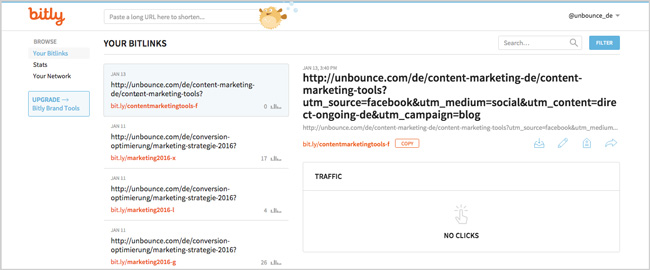Content Marketing Tools: Bitlinks nutzen