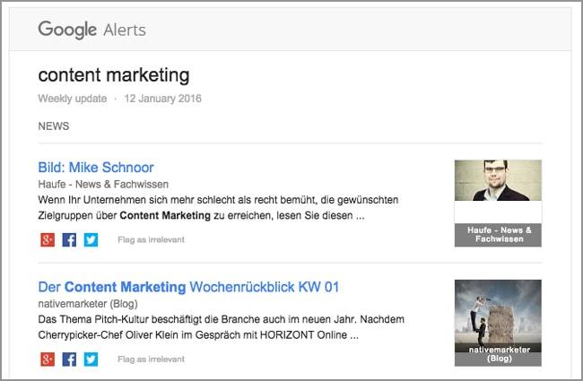 Content Marketing Tools: Google Alerts