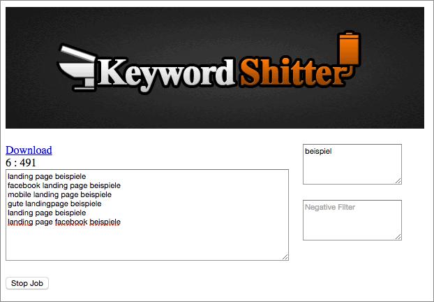 Content Marketing Tools: Keyword Shitter