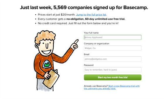 Copywriting: Basecamp form example