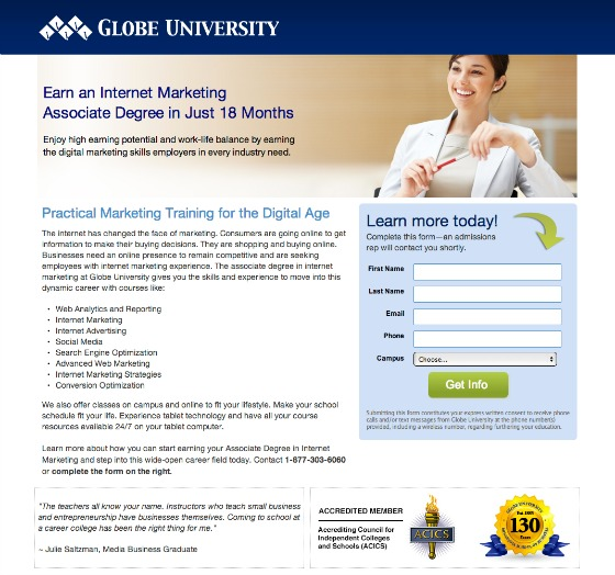 Copywriting: Globe University website example