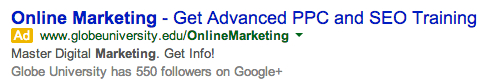 Copywriting: Google search example