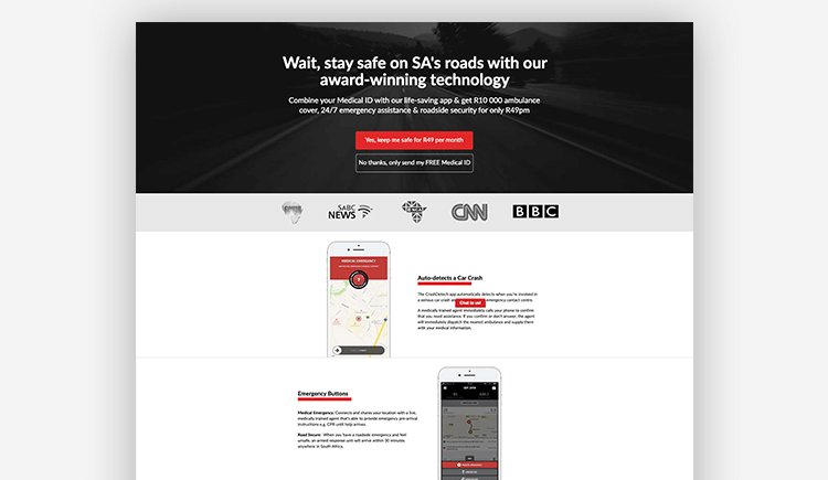 App landing pages: Crash Detech