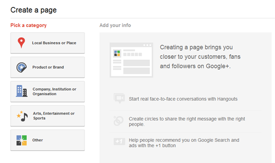Create a Google Plus Page