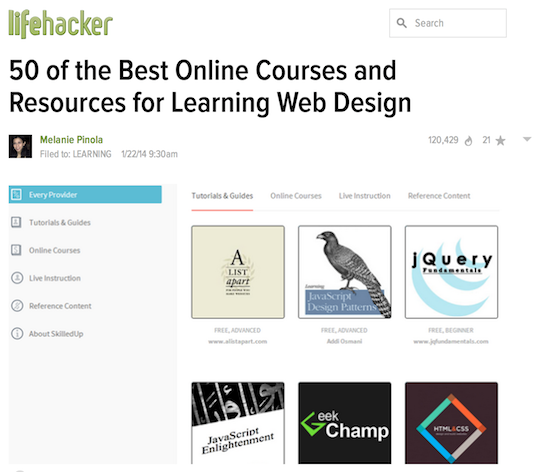 Design Resources: Lifehacker roundup post
