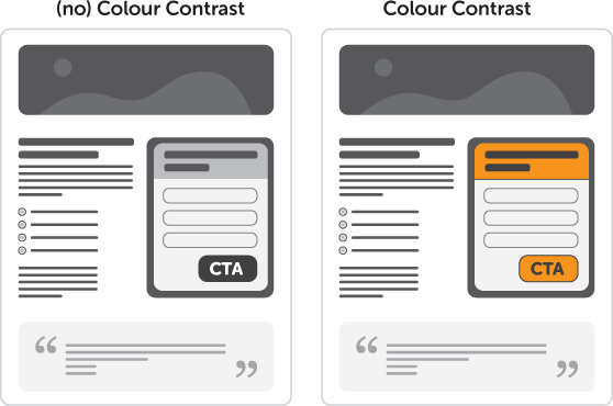 design to increase conversions color contrast