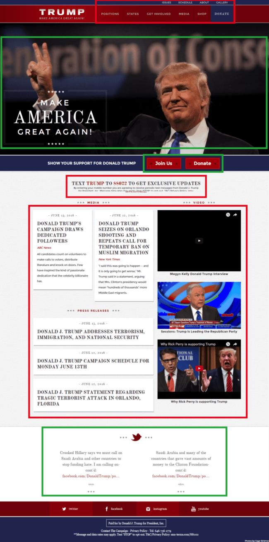 Donald Trump campaign homepage