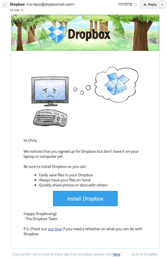 dropbox in-app email