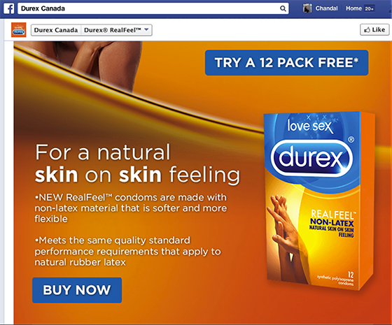 Native Advertising: Durex Facebook page