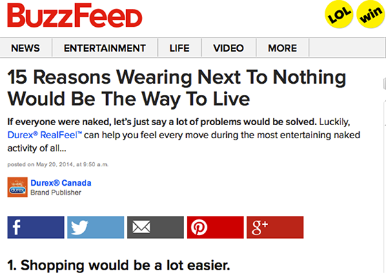 Native Advertising: Durex Buzzfeed example