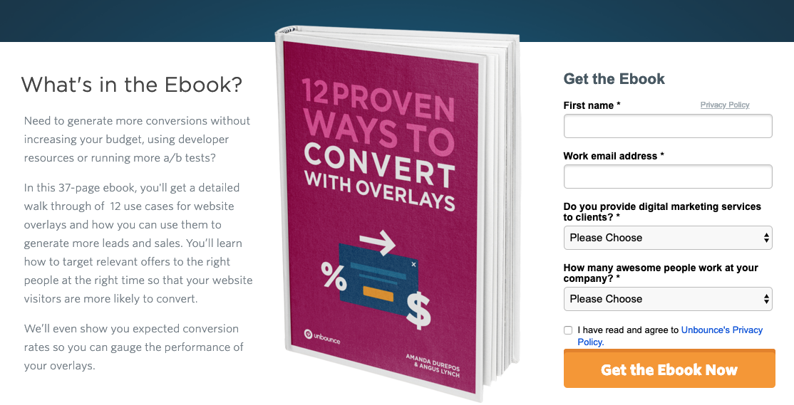 An ebook landing page from Unbounce