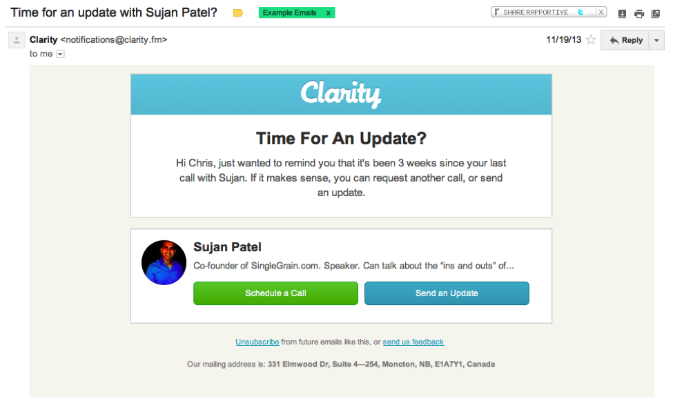 Email Marketing: Clarity update example