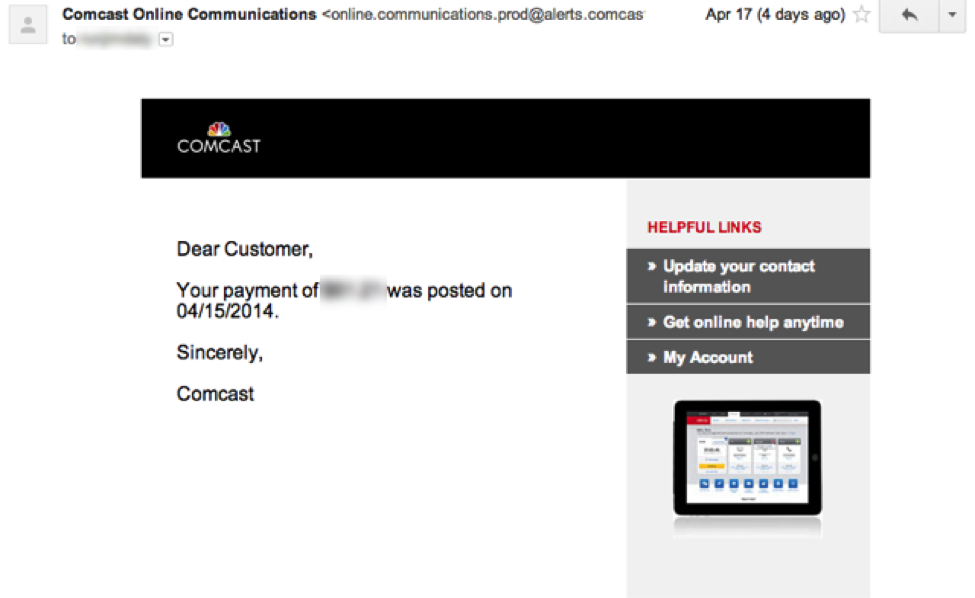 Email Marketing: Comcast example