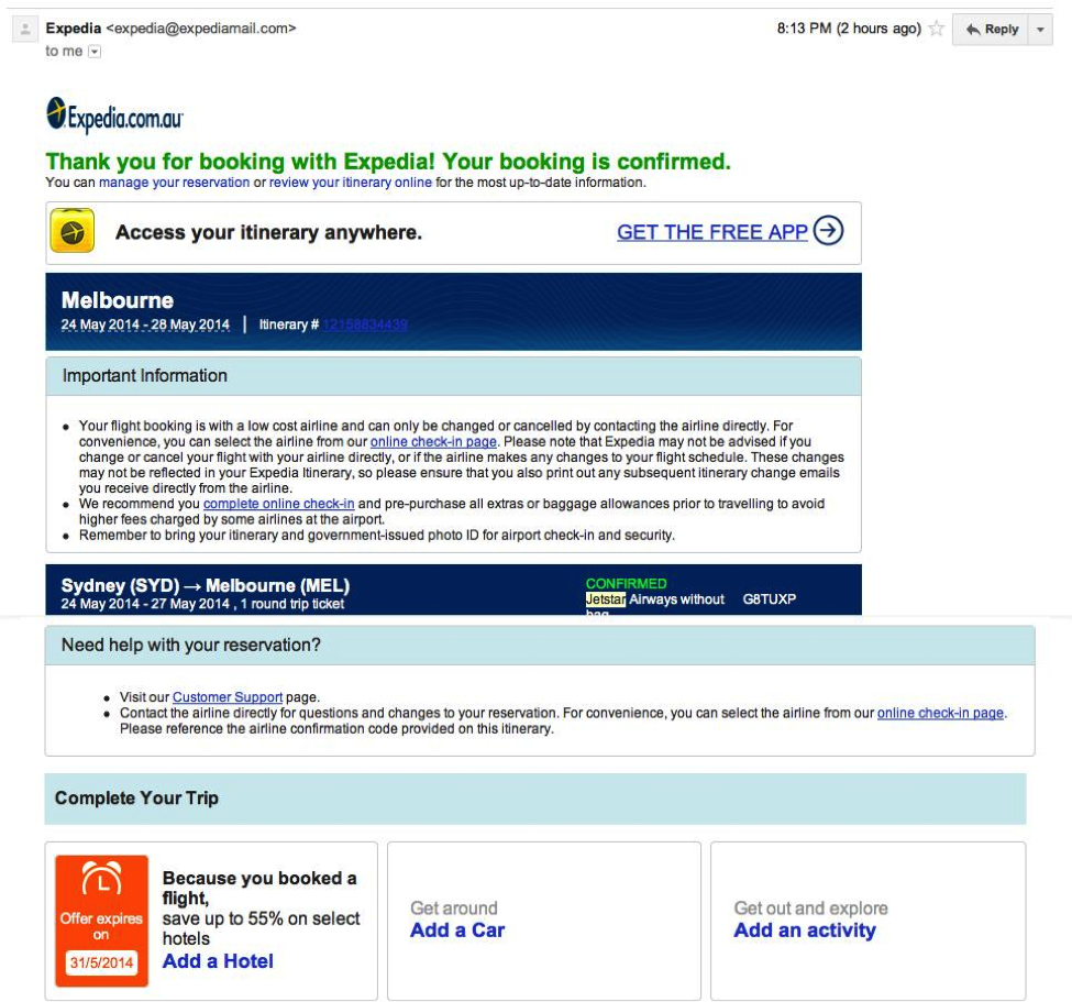 Email Marketing: Expedia example