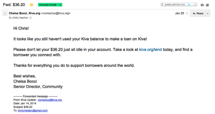 Email Marketing: Kiva Example