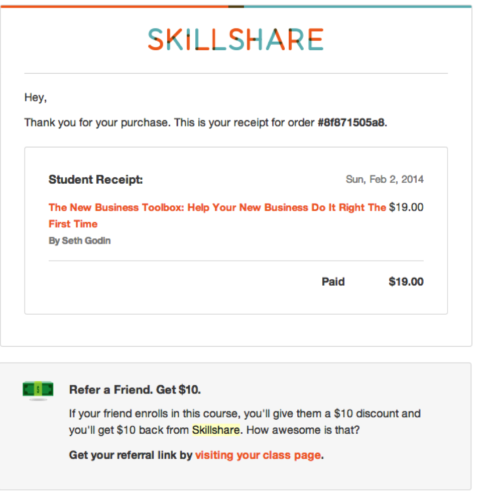 Email Marketing: Skillshare example