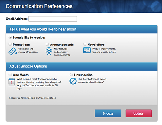 Email open rate: Communications preferences example