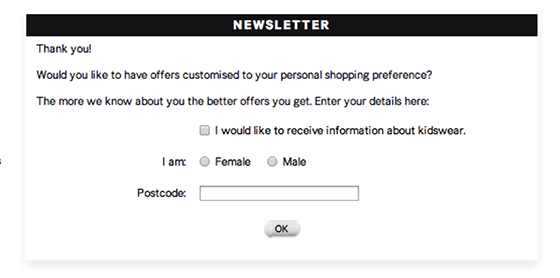 Email open rates: H&M newsletter