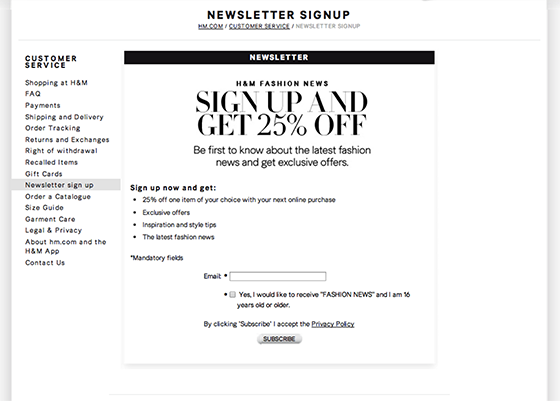 email open rates: H&M newsletter signup example