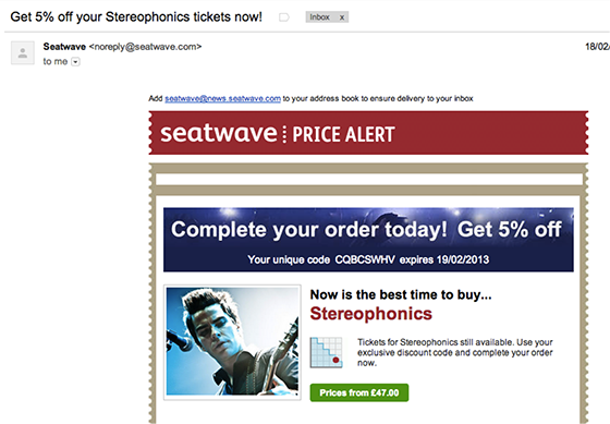 Email open rates: Stereophonics example