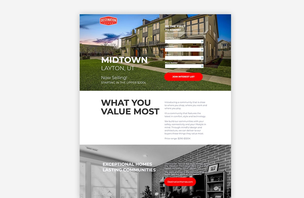 Real Estate Landing Page Examples - Destination Homes