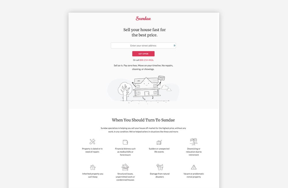 Real Estate Landing Page Examples - Sundae