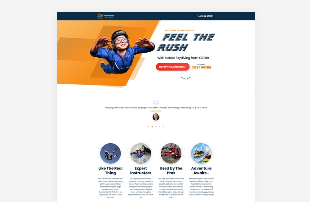 Event Landing Page Examples - Twinwoods