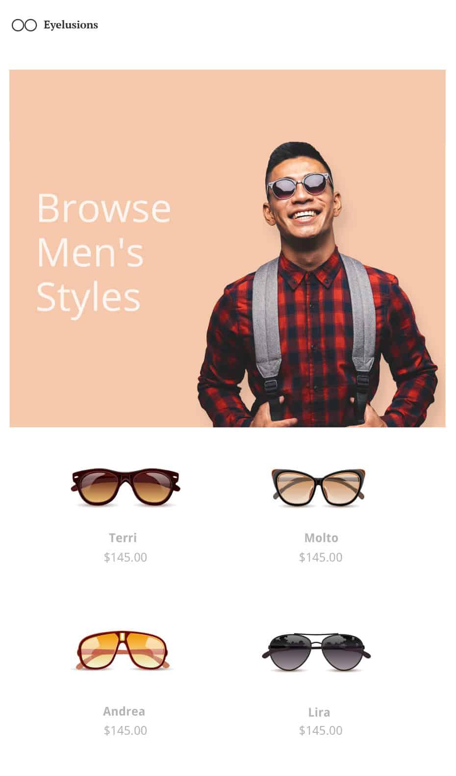 Eyelusions Homepage Mockup