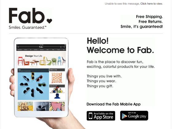 Fab welcome email example