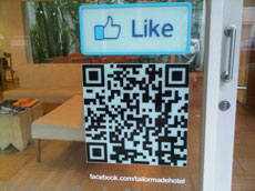 Facebook Like decal on entry door