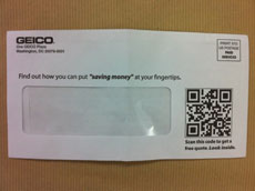 "Geico direct mail envelope with a QR code - ""Scan for a free quote"""