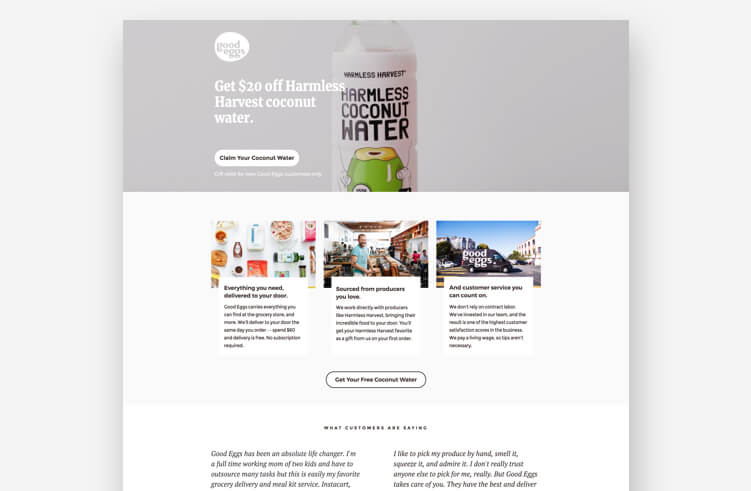 Most Inspiring Landing Page Example: Good Eggs