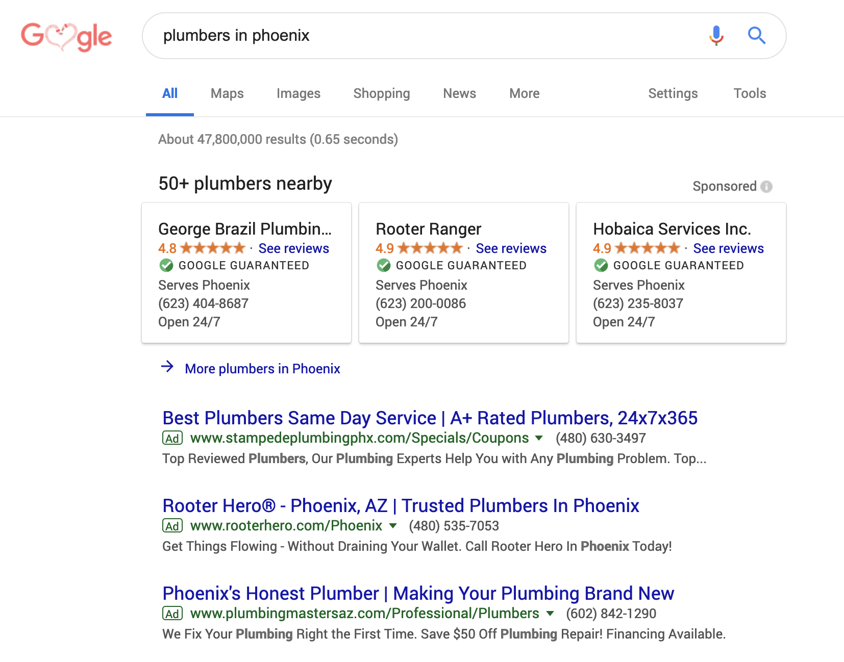 A screenshot of the Google ad platform.