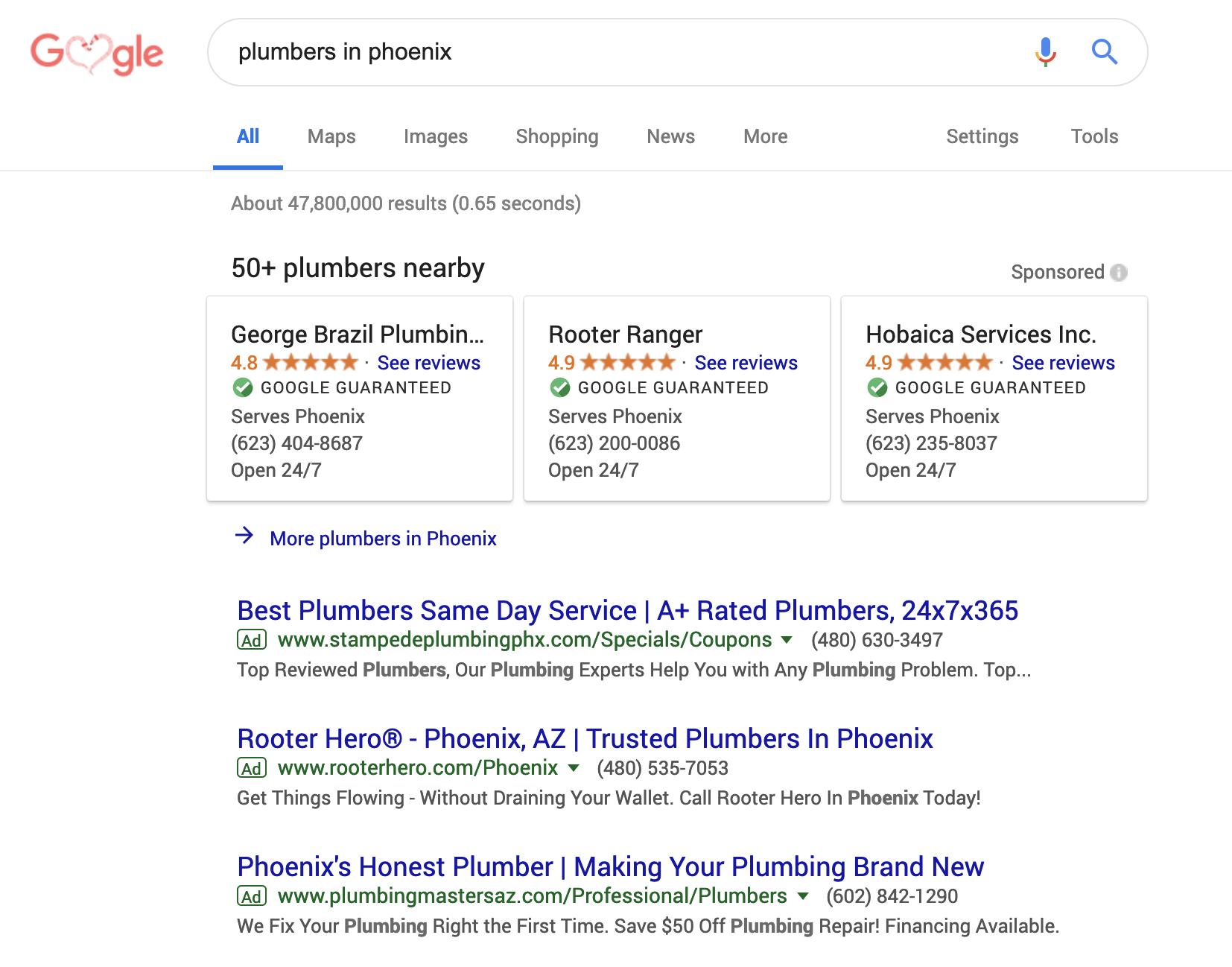 A screenshot of the Google ad platform.