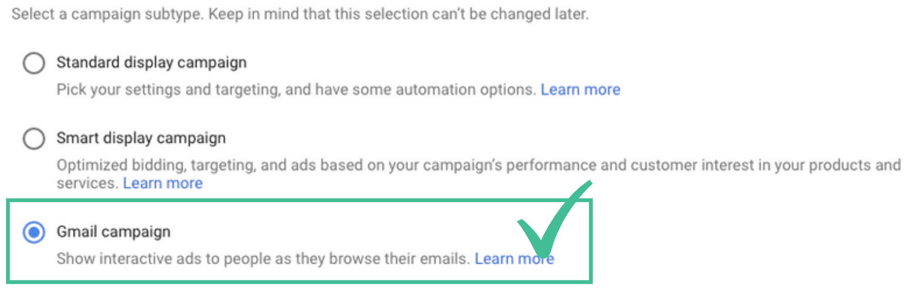 Campaign subtype: Gmail campaign