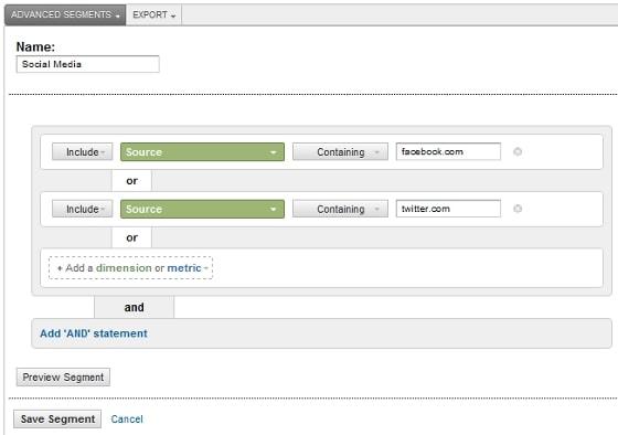 Google Analytics 5 Advanced Segments - Social Media