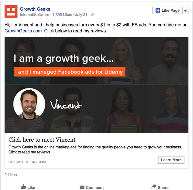 Growth Geeks facebook ad example critique