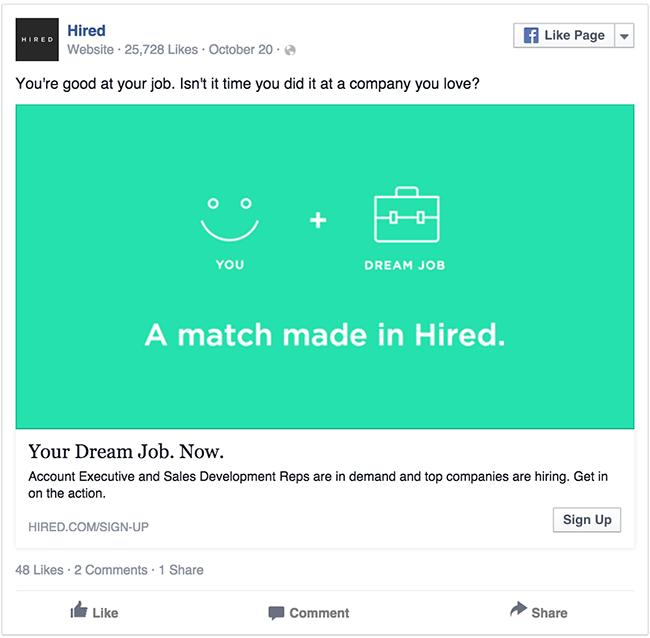 Hired facebook ad example critique
