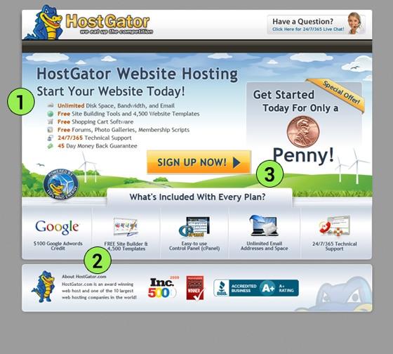 hostgator Landing Page