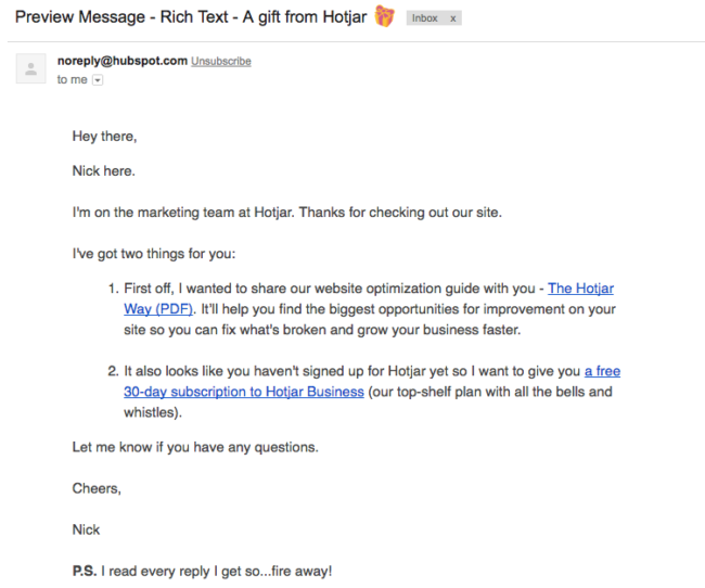 Hotjar follow up email