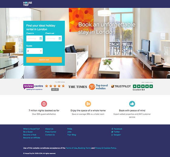 Housetrip Landing Page